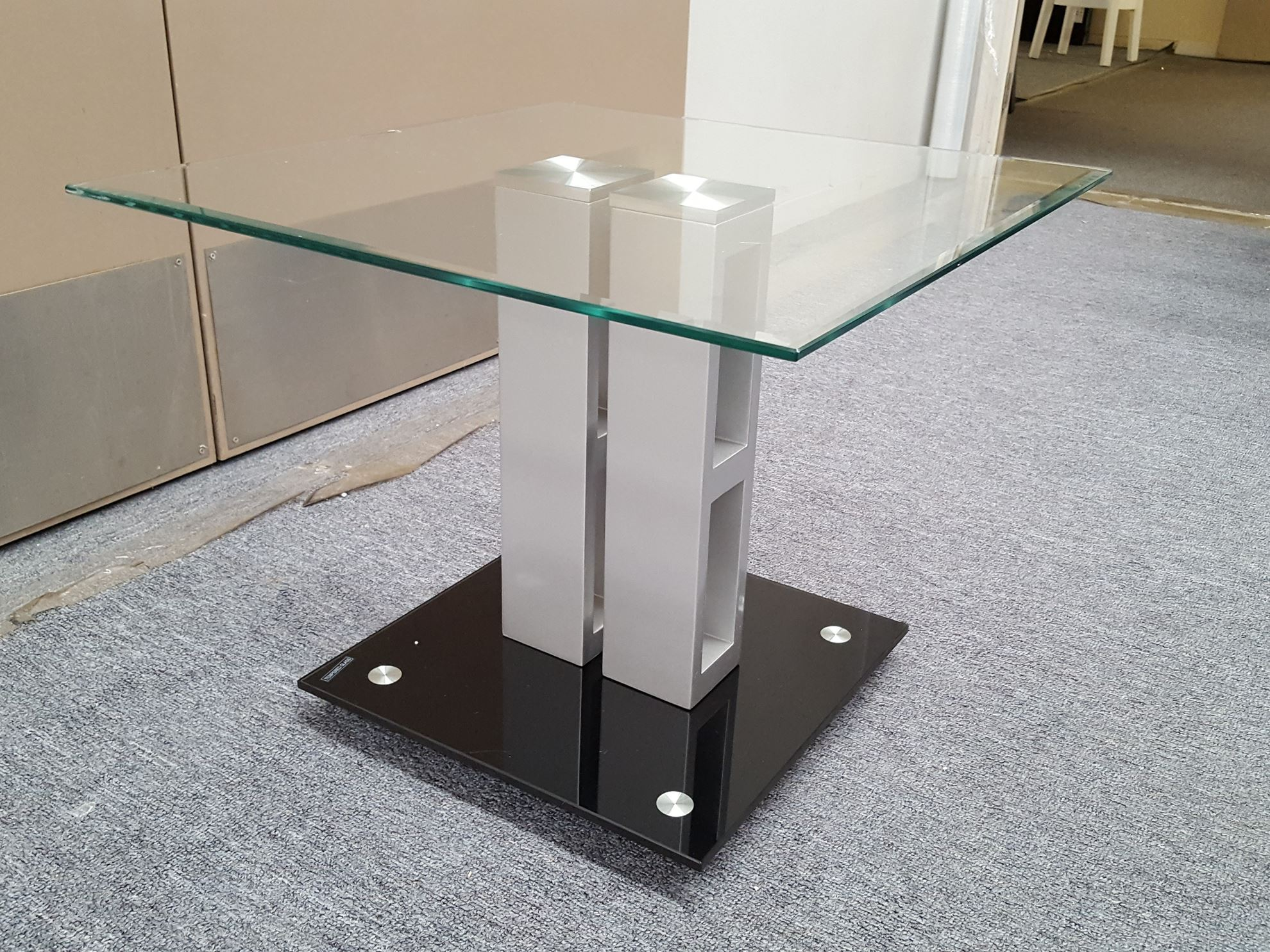 Furniture Place Galla Glass Coffee Table With Clear And Black Tempered Glass