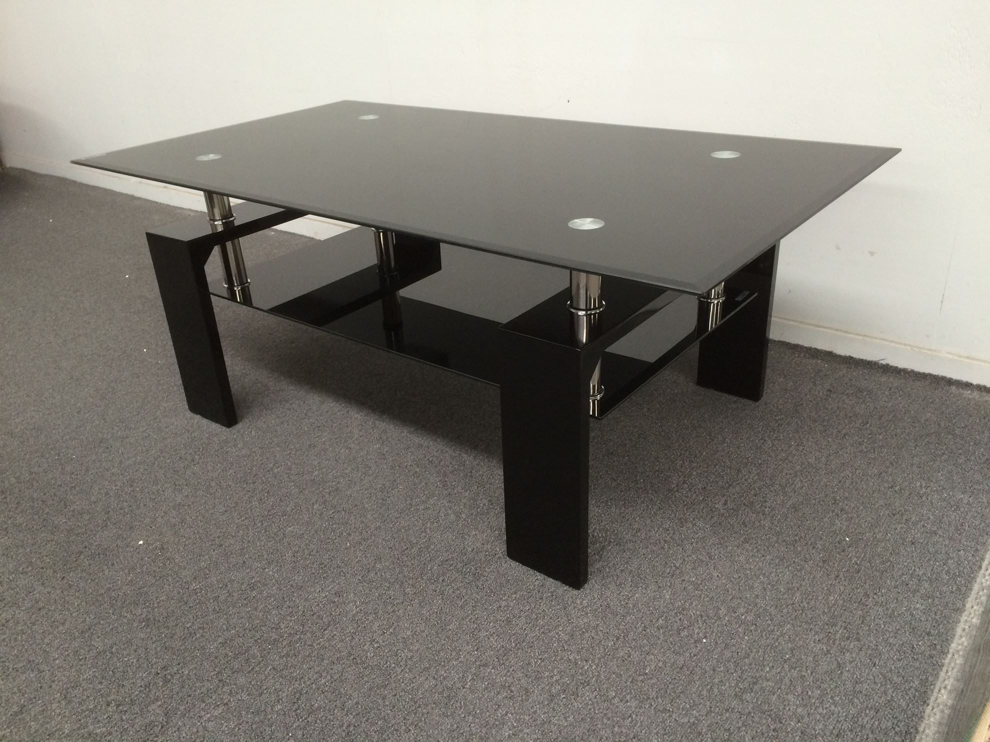 Furniture Place Lily Glass Coffee Table With Black Tempered Glass