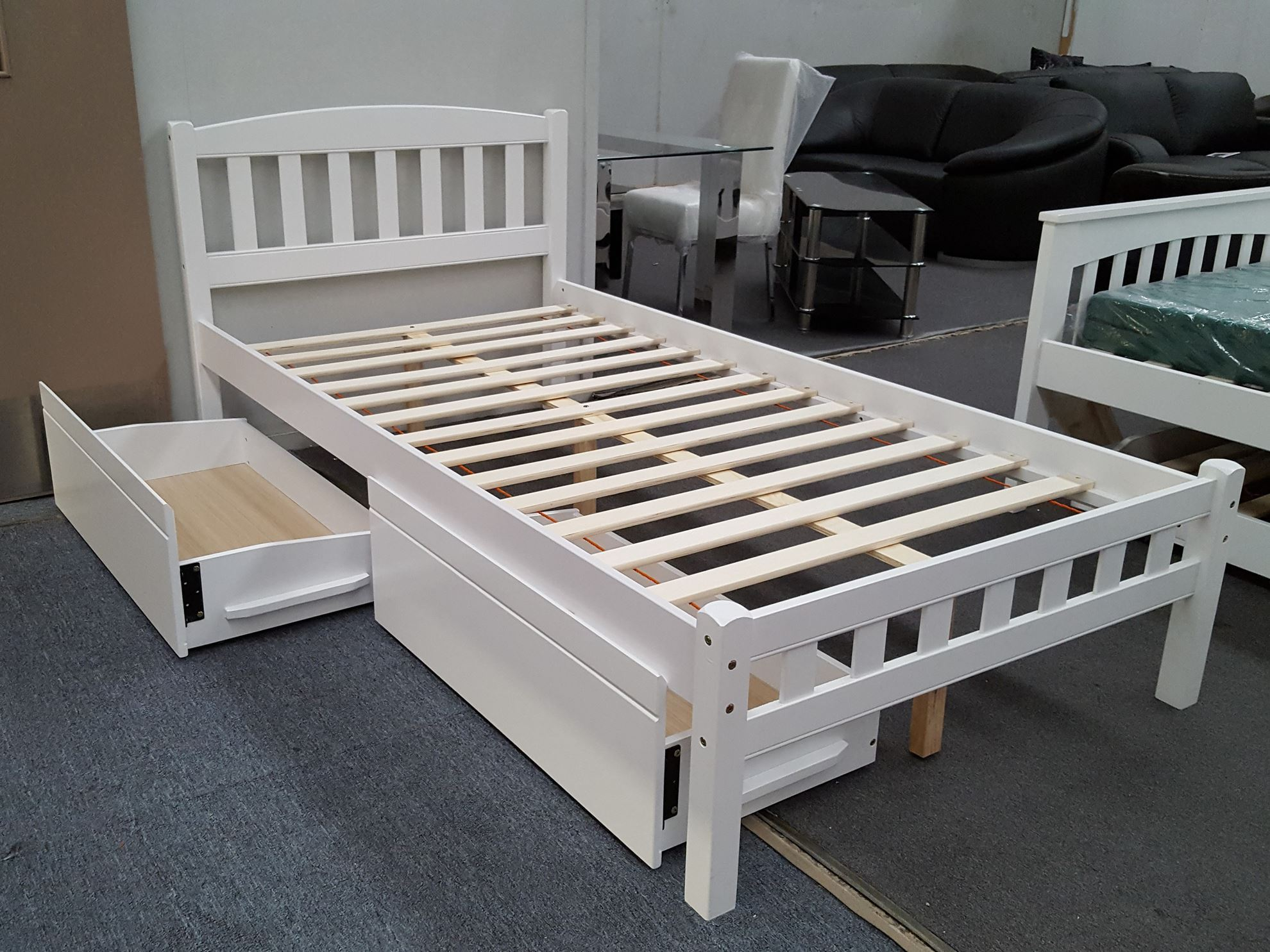 Furniture place zara king single bed in white with 2x drawers for Single bed with drawers and mattress