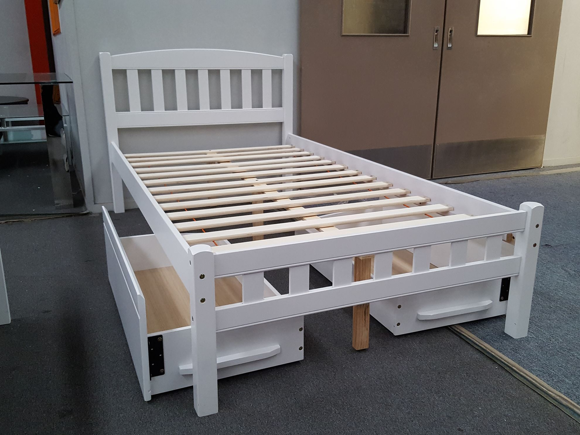 Zara king single bed in white with 2x drawers furniture for Single bed with drawers and mattress