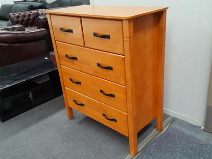 Picture of JESSICA 5X DRAWERS TALL BOY HONEY OAK