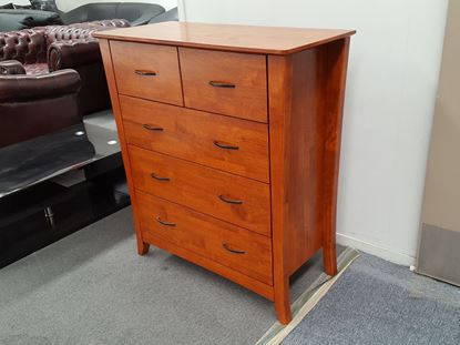 Picture of KIA 5X DRAWERS TALL BOY ANTIQUE OAK