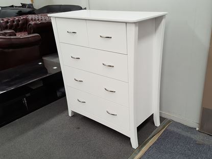 Picture of KIA 5 X DRAWERS TALL BOY WHITE