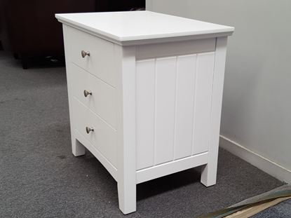 Picture of IVY 3X DRAWERS BEDSIDE TABLE WHITE