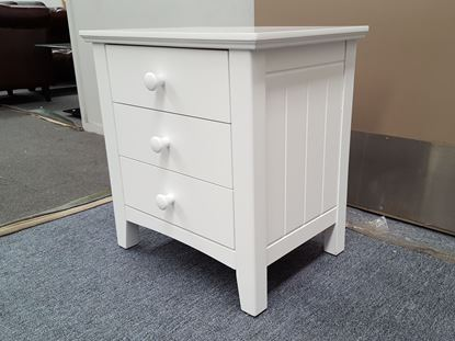 Picture of IVY2 3X DRAWERS BEDSIDE TABLE WHITE