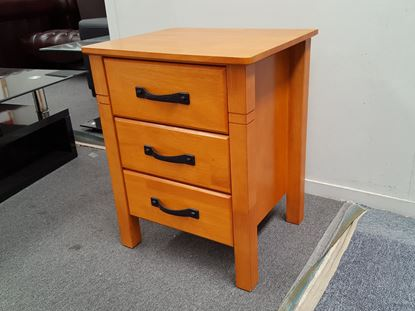 Picture of JESSICA 3X DRAWERS BEDSIDE TABLE HONEY OAK