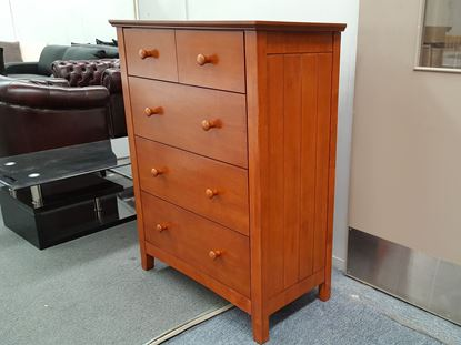 Picture of IVY2 5X DRAWERS TALL BOY ANTIQUE OAK