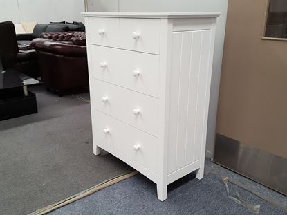 Picture of IVY2 5X DRAWERS TALL BOY WHITE
