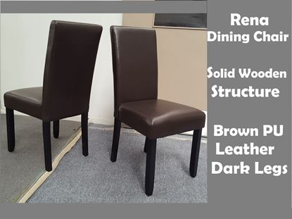 Picture of Rena Dining Chair in Dark Chocolate Brown PU Leather Dark Legs