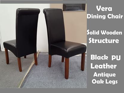 Picture of Vera Dining Chair in Black PU Leather Antique Oak Legs