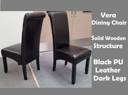 Picture of Vera Dining Chair in Black PU Leather Dark Legs