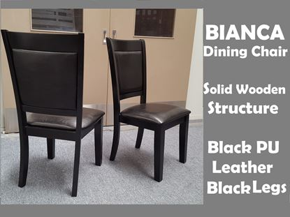Picture of Bianca Dining Chair in Black PU Leather Black Legs