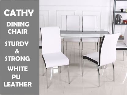 Picture of Cathy Dining Chair in White PU Leather with Black Strip Chrome Legs