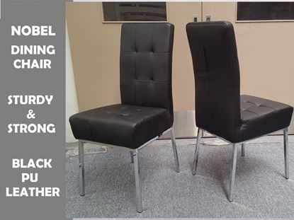 Picture of Nobel Dining Chair in Black PU Leather Chrome Legs