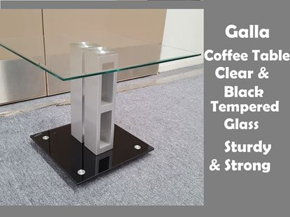 Picture of Galla Glass Coffee Table with Clear and Black Tempered Glass