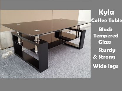 Picture of Kyla Glass Coffee Table with Black Tempered Glass