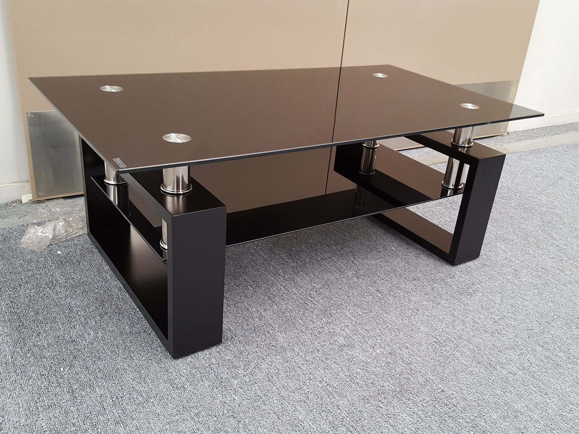 Furniture Place Kyla Glass Coffee Table With Black Tempered Glass