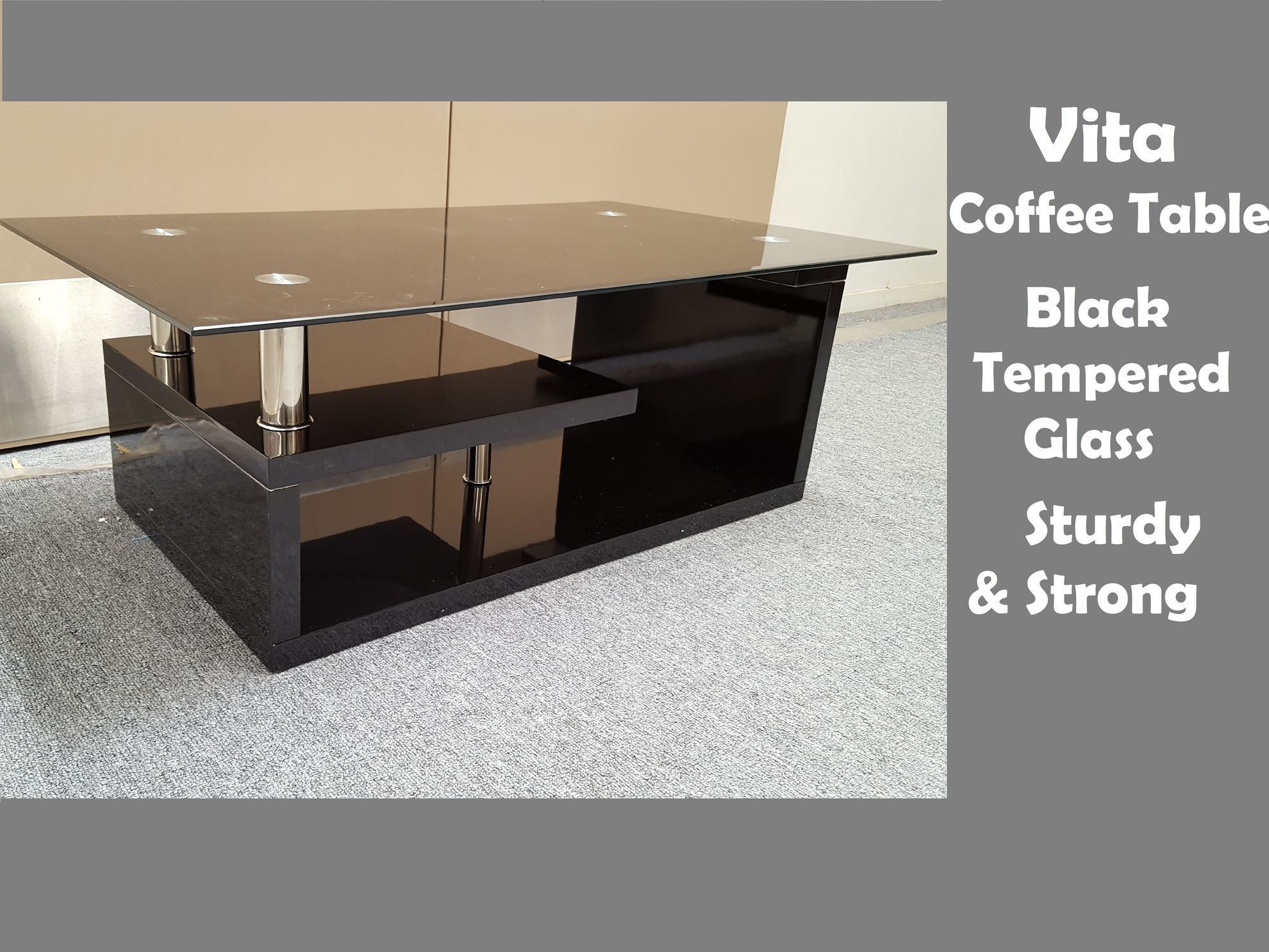 furniture place: vita glass coffee table with black tempered glass