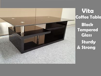 Picture of Vita Glass Coffee Table with Black Tempered Glass