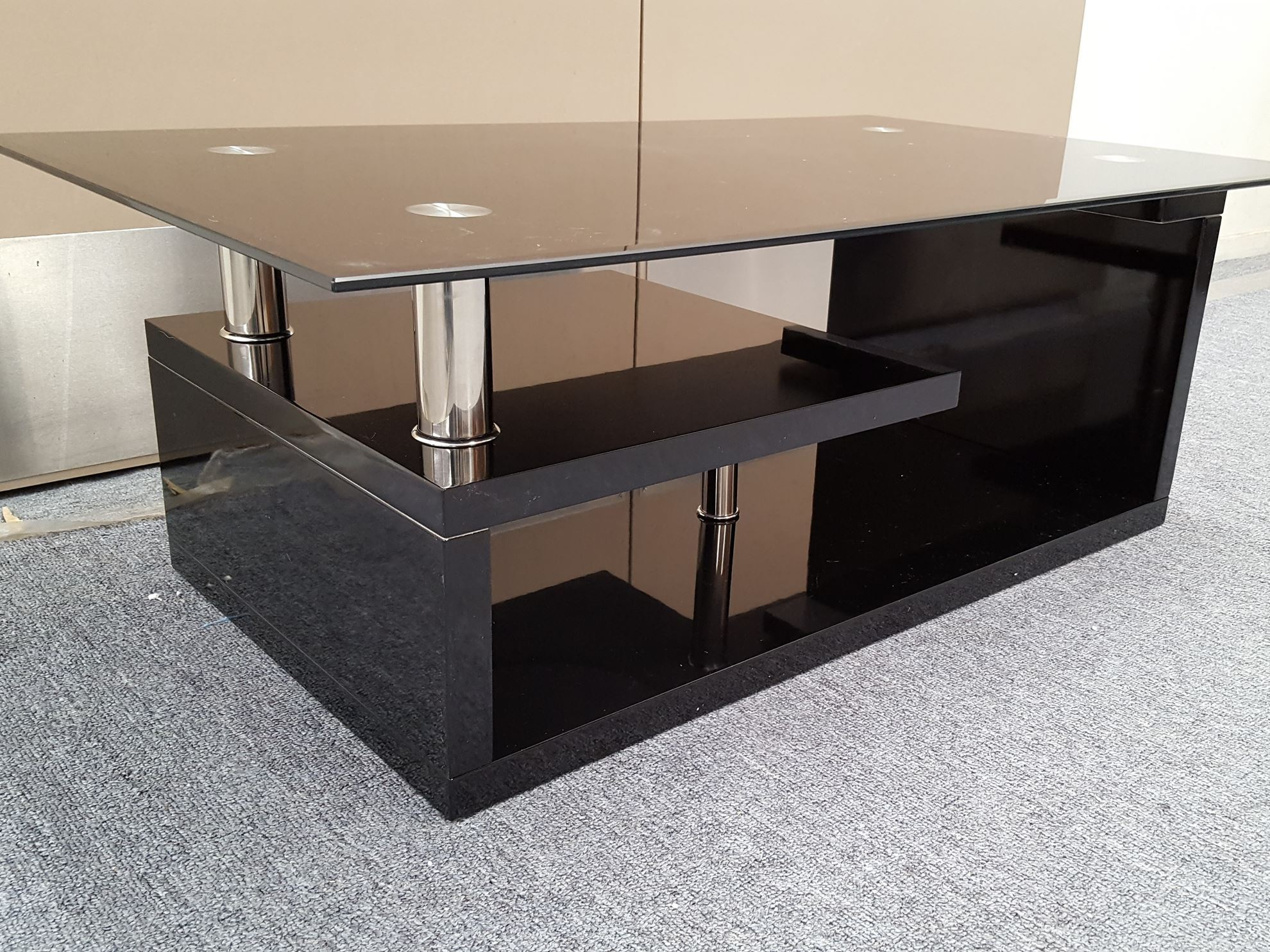 Furniture place vita glass coffee table with black for Tempered glass coffee table