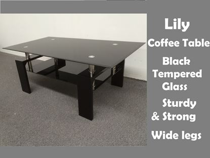 Picture of Lily Glass Coffee Table with Black Tempered Glass