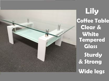 Picture of Lily Glass Coffee Table with White Tempered Glass