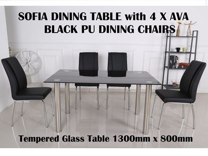 Picture of Sofia Glass Dining Table-1300mm x 800mm with 4x Ava Black PU Leather Dining Chairs