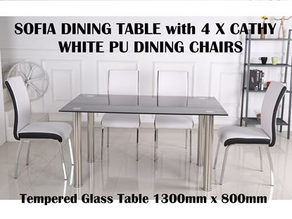 Picture of Sofia Glass Dining Table-1300mm x 800mm with 4x Cathy White PU leather with Black PU Strip on Each Side Dining Chairs