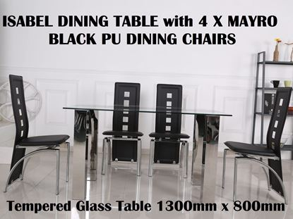 Picture of Isabel Glass Dining Table-1300mm x 800mm with 4x Myro Black PU Leather Dining Chairs