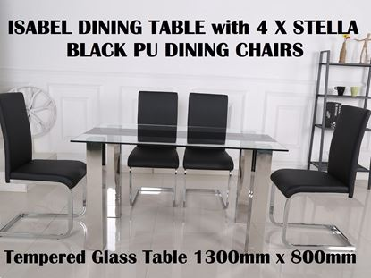 Picture of Isabel Glass Dining Table-1300mm x 800mm with 4x Stella Black PU Leather Dining Chairs