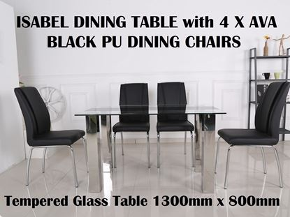 Picture of Isabel Glass Dining Table-1300mm x 800mm with 4x Ava Black PU Leather Dining Chairs