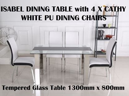 Picture of Isabel Glass Dining Table-1300mm x 800mm with 4x Cathy White PU Leather with Black Strip  Dining Chairs