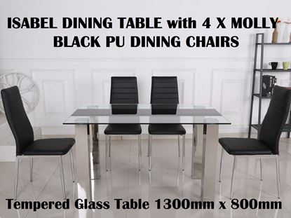 Picture of Isabel Glass Dining Table-1300mm x 800mm with 4x Molly Black PU Leather Dining Chairs