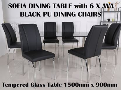 Picture of Sofia Glass Dining Table-1500mm x 900mm with 6x Ava Black PU Leather Dining Chairs