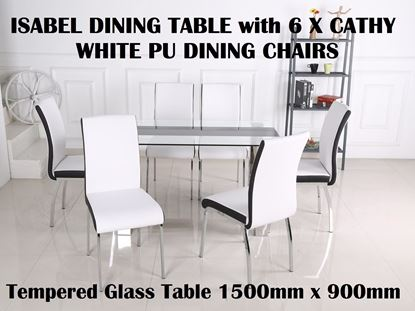 Picture of Isabel Glass Dining Table-1500mm x 900mm with 6x Cathy White PU Leather with Black Strip on Each Side Dining Chairs
