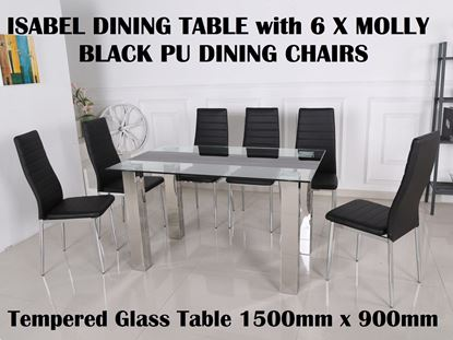 Picture of Isabel Glass Dining Table-1500mm x 900mm with 6x Molly Black PU Leather Dining Chairs