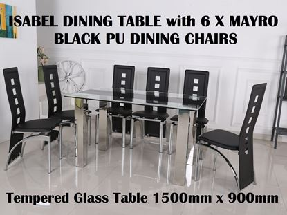 Picture of Isabel Glass Dining Table-1500mm x 900mm with 6x Myro Black PU Leather Dining Chairs