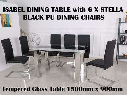 Picture of Isabel Glass Dining Table-1500mm x 900mm with 6x Stella Black PU Leather Dining Chairs