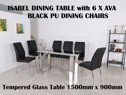 Picture of Isabel Glass Dining Table-1500mm x 900mm with 6x Ava Black PU Leather Dining Chairs