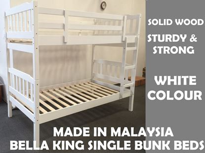 Picture of Bella King Single Bunk Bed in White