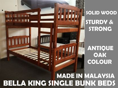 Picture of Bella King Single Bunk Bed in Antique Oak