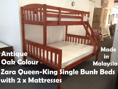 Picture of Zara Queen-King Single Bunk Bed in Antique Oak with 2x Mattresses