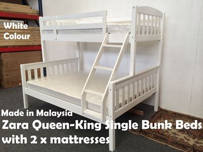 Picture of Zara Queen-King Single Bunk Bed in White with 2x Mattresses
