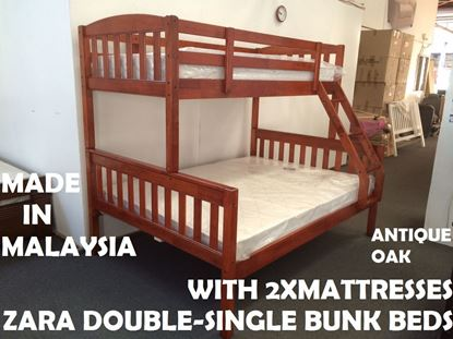 Picture of Zara Double-Single Bunk Bed in Antique Oak with 2x Mattresses