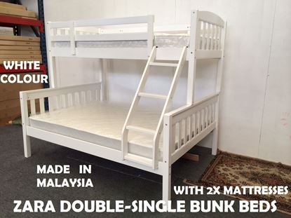 Picture of Zara Double-Single Bunk Bed in White with 2x Mattresses