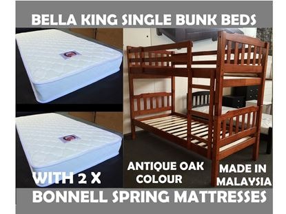 Picture of Bella King Single Bunk Bed in Antique Oak with 2x Mattresses