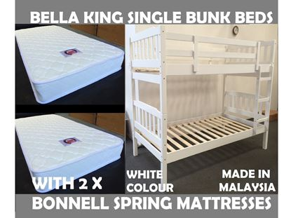 Picture of Bella King Single Bunk Bed in White with 2x Mattresses