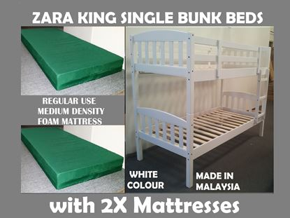 Picture of Zara King Single Bunk Bed in White with 2x Mattresses