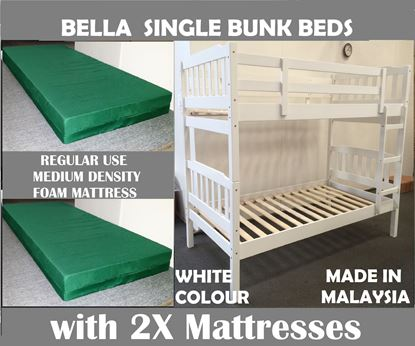 Picture of Bella Single Bunk Bed in White with 2x Mattresses