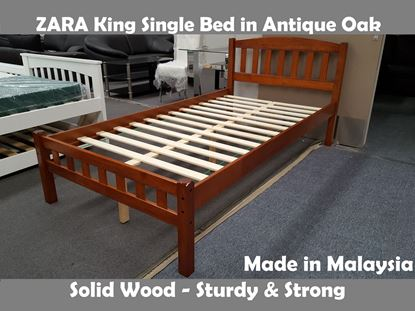 Picture of Zara King Single Bed in Antique Oak